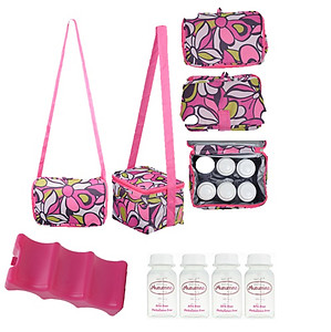 Autumnz Fun Foldaway Cooler Bag (1pc) + Autumnz Premium Contoured Ice Pack (1pc) + Autumnz Breastmilk Storage Bottle (4pcs)