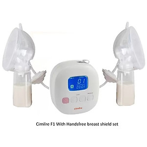 Cimilre F1 Rechargeable Double Breast Pump With Hands Free Breastshield Cup Set