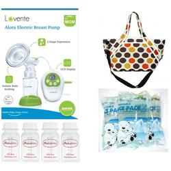 Lavente Alora Single Electric Breast Pump +  Jingle Jungle Radiant Cooler Tote Crossbody + Jingle Jungle Mom's Love Reusable Ice Pack (3pcs) +  Autumnz Breastmilk Storage Bottles 4pcs