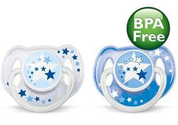Philips Avent Night Time Pacifiers 6-18M (2pcs) (Silicone Soothers)