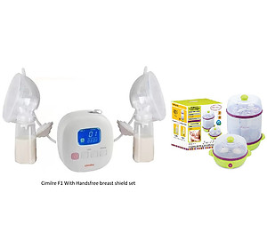 Cimilre F1 Rechargeable Double Breast Pump With Hands Free Breastshield Cup Set With Free Autumnz 2 In 1 Electric Steriliser & Food Steamer