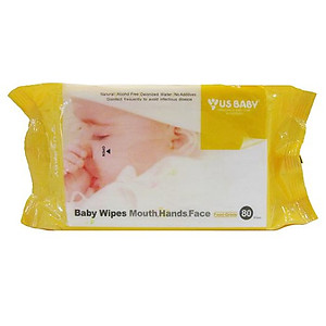 US Baby Baby Wipes For Mouth, Hands & Face - 80 Wipes