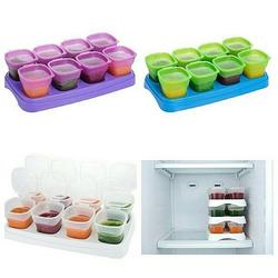 Autumnz Easy Baby Food Storage Cups 2oz (8 Cups & 1 Tray)